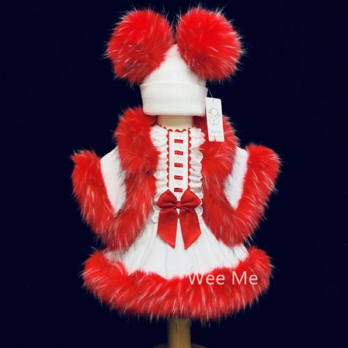 New Arrival Stunning Baby Girl White with Red Spanish Fur Bottom Dress Set